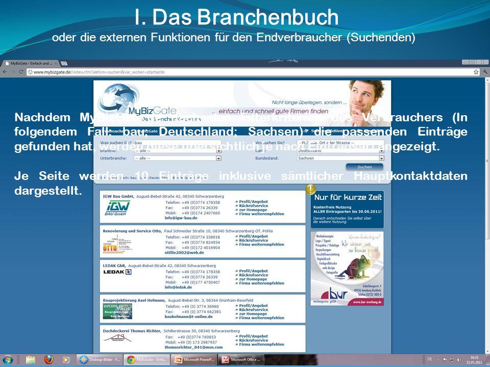 I. Das Branchenbuch oder die externen Funktionen für den Endverbraucher (Suchenden) Nachdem MyBizGate.de nach den Filterkriterien des Verbrauchers (In