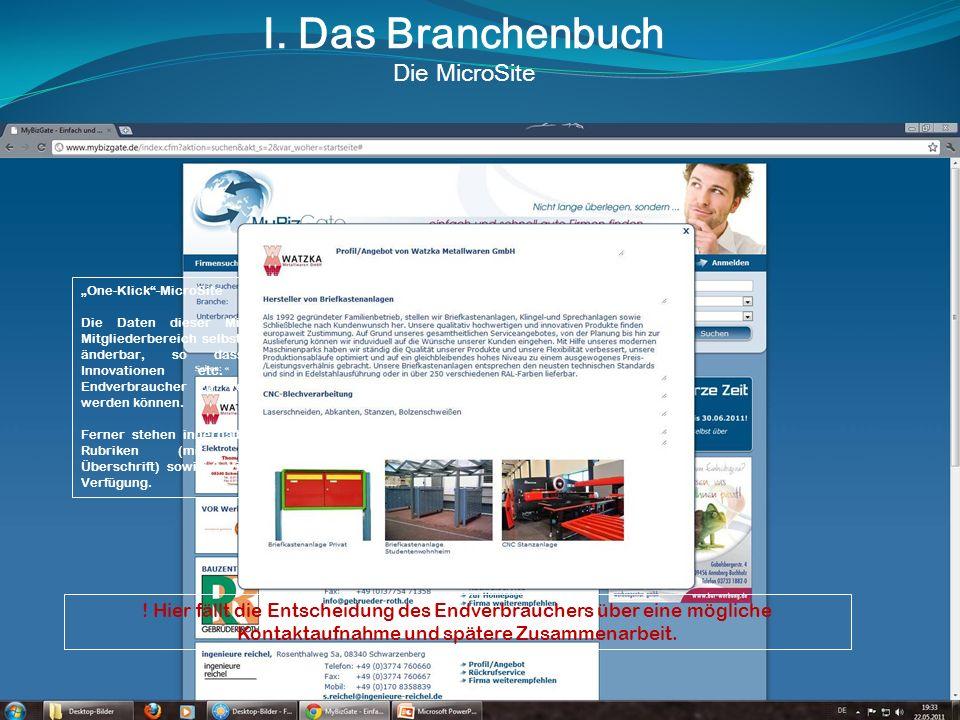 I. Das Branchenbuch Die MicroSite One-Klick-MicroSite Die Daten dieser MicroSite sind im Mitgliederbereich selbständig erstell- und änderbar, so dass
