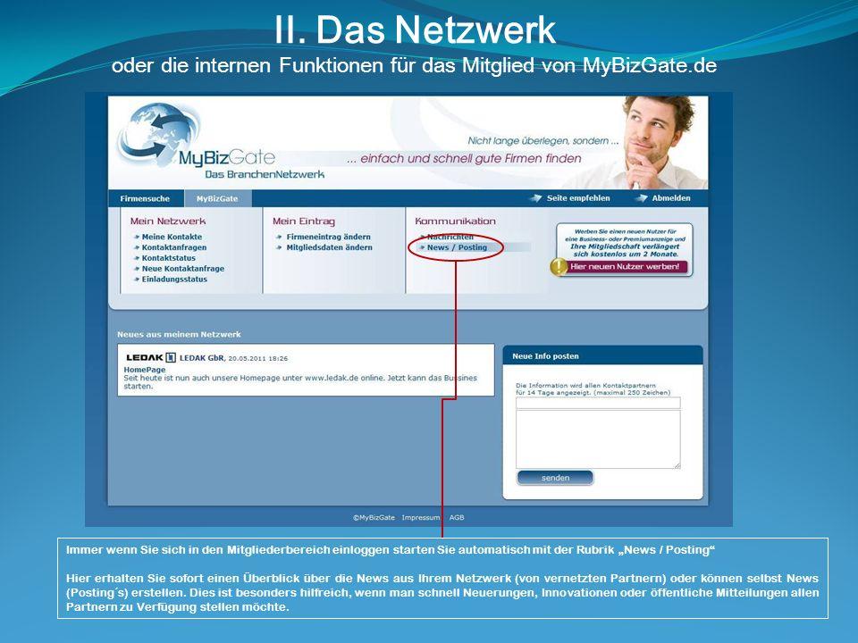 II. Das Netzwerk oder die internen Funktionen für das Mitglied von MyBizGate.de Immer wenn Sie sich in den Mitgliederbereich einloggen starten Sie aut