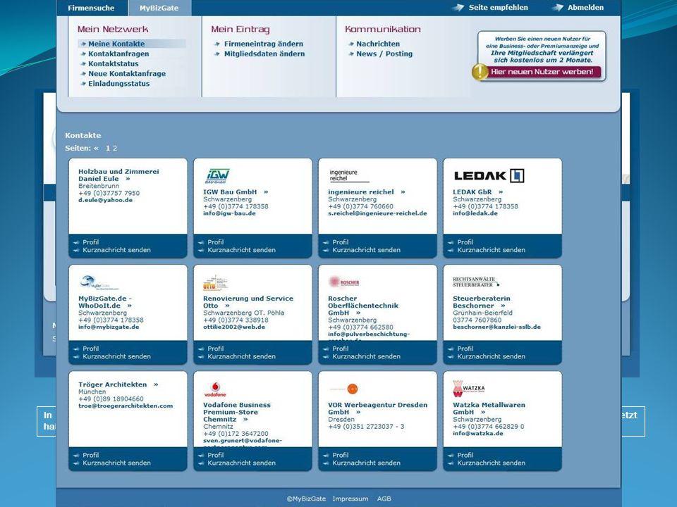 II. Das Netzwerk oder die internen Funktionen für das Mitglied von MyBizGate.de In der Rubrik Meine Kontakte werden alle Partner übersichtlich geliste