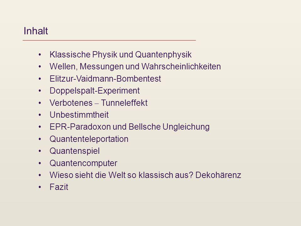 Inhalt Klassische Physik und Quantenphysik Wellen, Messungen und Wahrscheinlichkeiten Elitzur-Vaidmann-Bombentest Doppelspalt-Experiment Verbotenes Tu