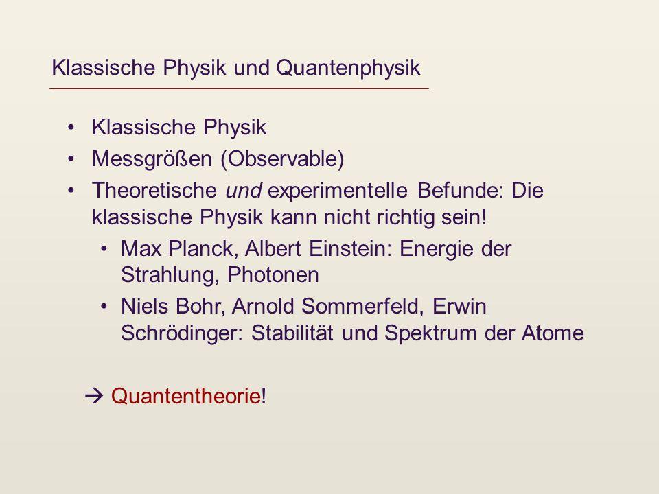Wellen, Messungen und Wahrscheinlichkeiten Louis de Broglie: Teilchen verhalten sich wie Wellen (Wellenfunktion, ) Problem der Deutung der neuen Theorie Max Born, Niels Bohr: Wellenfunktion Wahrscheinlichkeiten für Messergebnisse (Kopenhagener Deutung) Orbitale, Atome, Moleküle, Stabilität der Materie Wellen können einander überlagern (Superpositionsprinzip) = 1 + 2