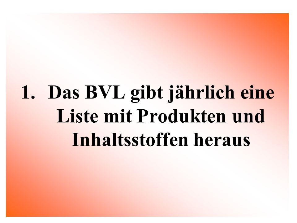 1.Das BVL gibt jährlich eine Liste mit Produkten und Inhaltsstoffen heraus