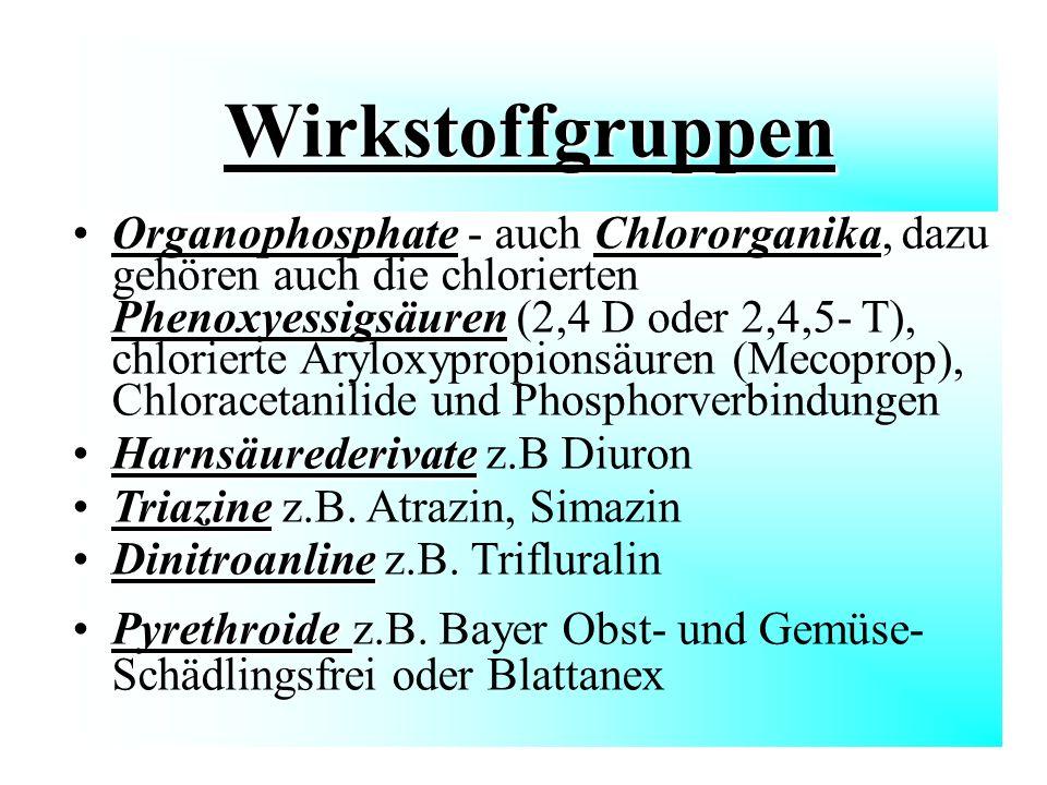Wirkstoffgruppen Wirkstoffgruppen OrganophosphateChlororganika PhenoxyessigsäurenOrganophosphate - auch Chlororganika, dazu gehören auch die chloriert