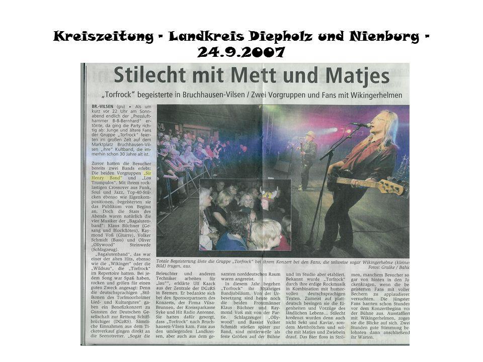 Bremer Tageszeitungen 27.9.2007 © Bremer Tageszeitungen AG Vorbands so gut wie