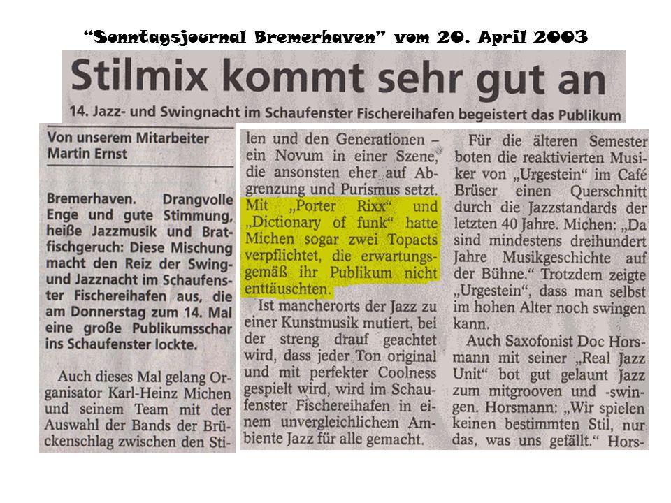 Kieler Nachrichten vom 9. August 2003