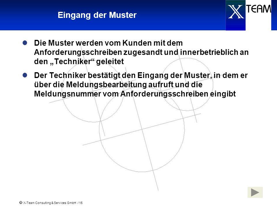 X-Team Consulting & Services GmbH / 15 Eingang der Muster Die Muster werden vom Kunden mit dem Anforderungsschreiben zugesandt und innerbetrieblich an