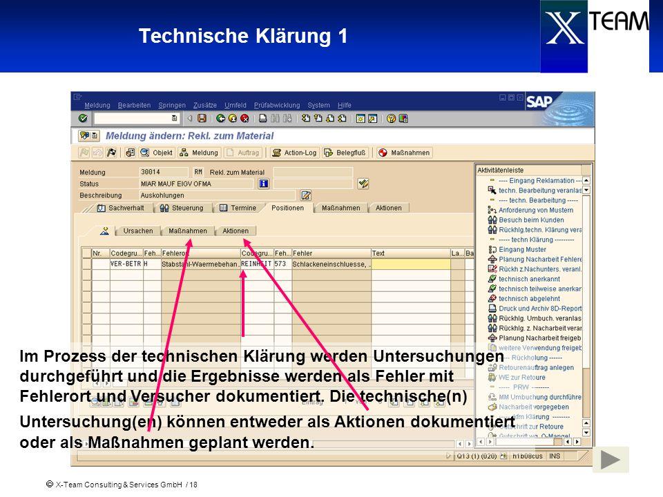 X-Team Consulting & Services GmbH / 18 Technische Klärung 1 Im Prozess der technischen Klärung werden Untersuchungen durchgeführt und die Ergebnisse w