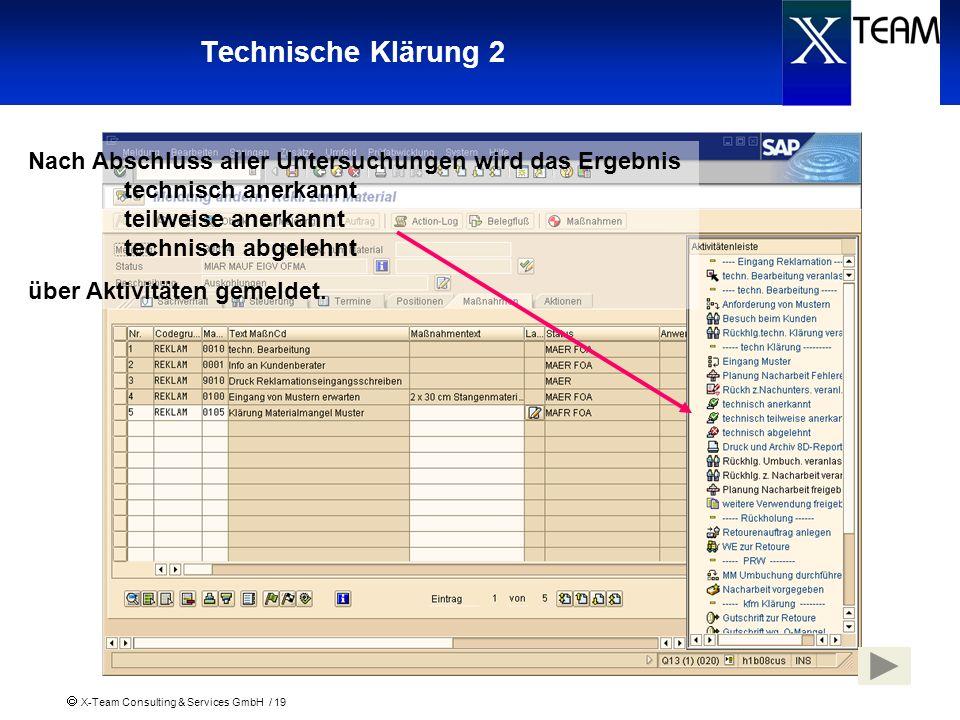 X-Team Consulting & Services GmbH / 19 Technische Klärung 2 Nach Abschluss aller Untersuchungen wird das Ergebnis technisch anerkannt teilweise anerka