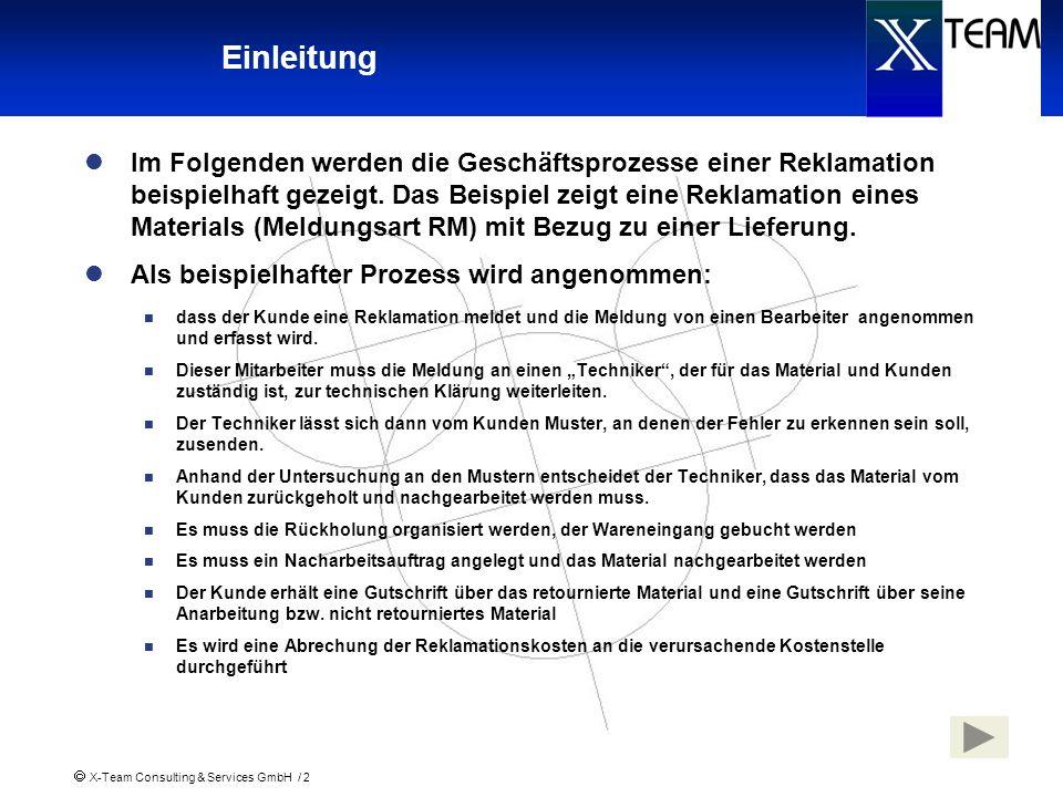 X-Team Consulting & Services GmbH / 2 Einleitung Im Folgenden werden die Geschäftsprozesse einer Reklamation beispielhaft gezeigt. Das Beispiel zeigt