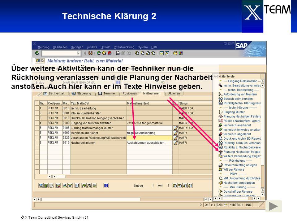 X-Team Consulting & Services GmbH / 21 Technische Klärung 2 Über weitere Aktivitäten kann der Techniker nun die Rückholung veranlassen und die Planung