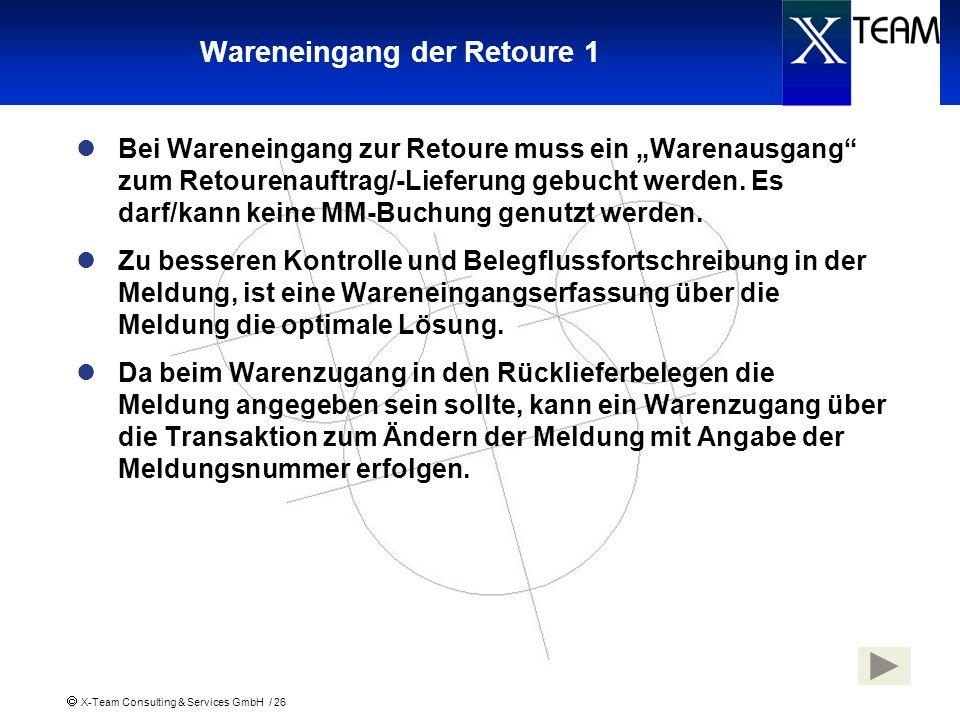 X-Team Consulting & Services GmbH / 26 Wareneingang der Retoure 1 Bei Wareneingang zur Retoure muss ein Warenausgang zum Retourenauftrag/-Lieferung ge