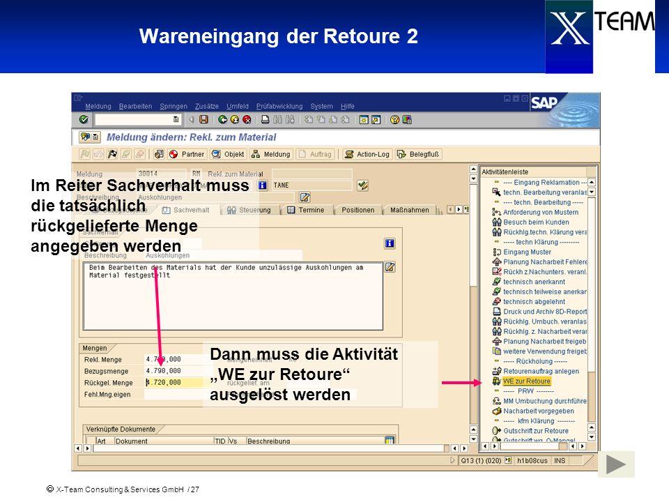 X-Team Consulting & Services GmbH / 27 Wareneingang der Retoure 2 Im Reiter Sachverhalt muss die tatsächlich rückgelieferte Menge angegeben werden Dan