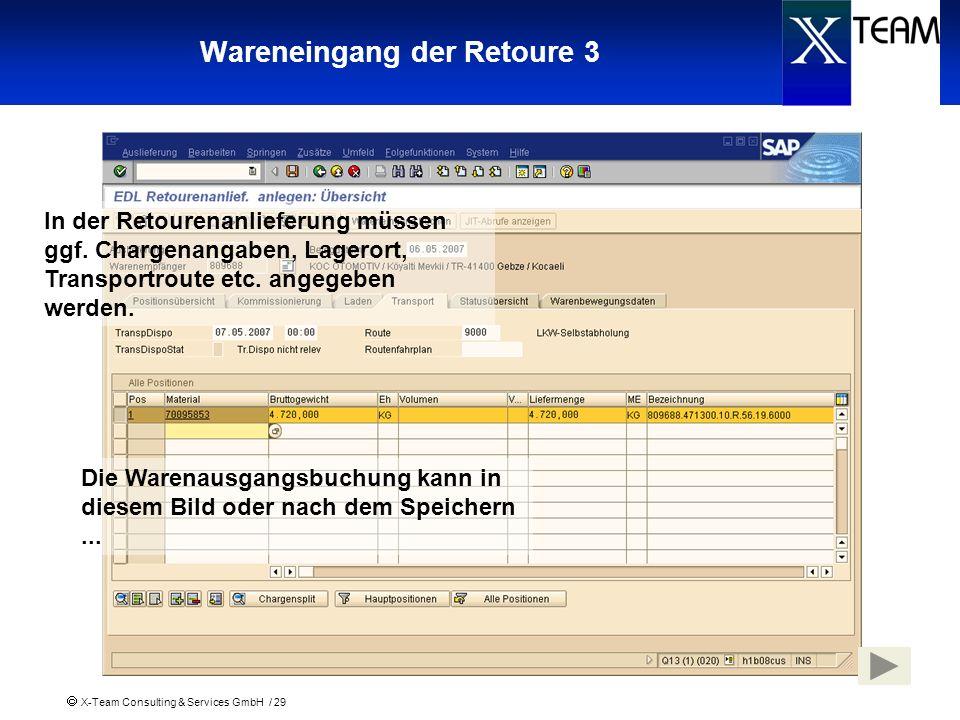 X-Team Consulting & Services GmbH / 29 Wareneingang der Retoure 3 In der Retourenanlieferung müssen ggf. Chargenangaben, Lagerort, Transportroute etc.