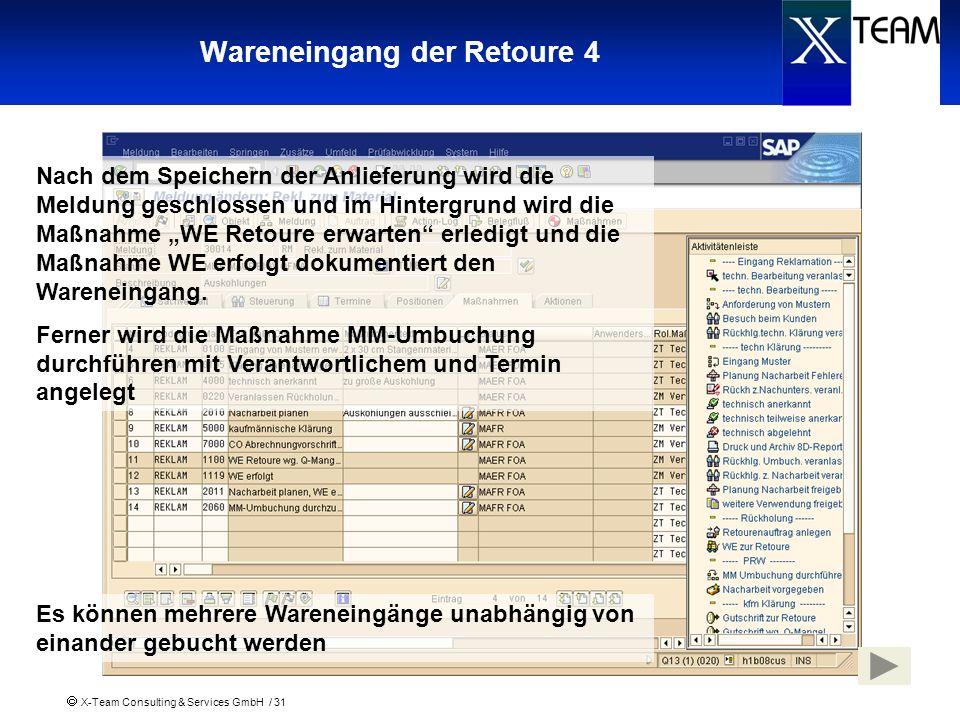 X-Team Consulting & Services GmbH / 31 Wareneingang der Retoure 4 Nach dem Speichern der Anlieferung wird die Meldung geschlossen und im Hintergrund w