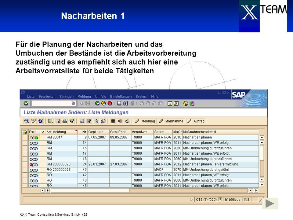 X-Team Consulting & Services GmbH / 32 Nacharbeiten 1 Für die Planung der Nacharbeiten und das Umbuchen der Bestände ist die Arbeitsvorbereitung zustä