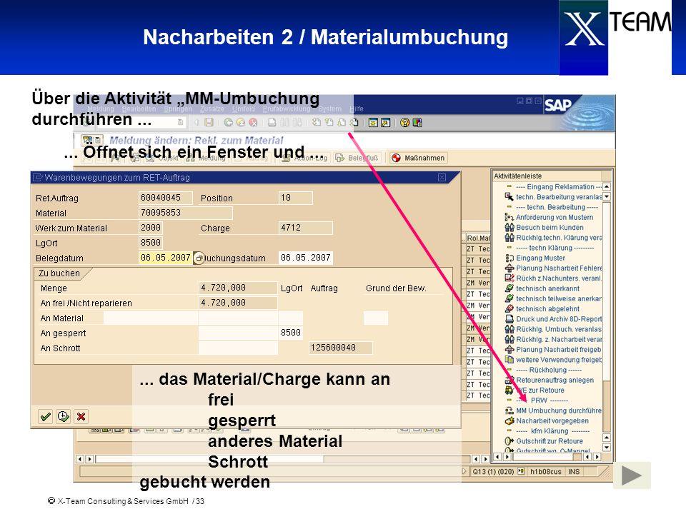 X-Team Consulting & Services GmbH / 33 Nacharbeiten 2 / Materialumbuchung Über die Aktivität MM-Umbuchung durchführen...... das Material/Charge kann a