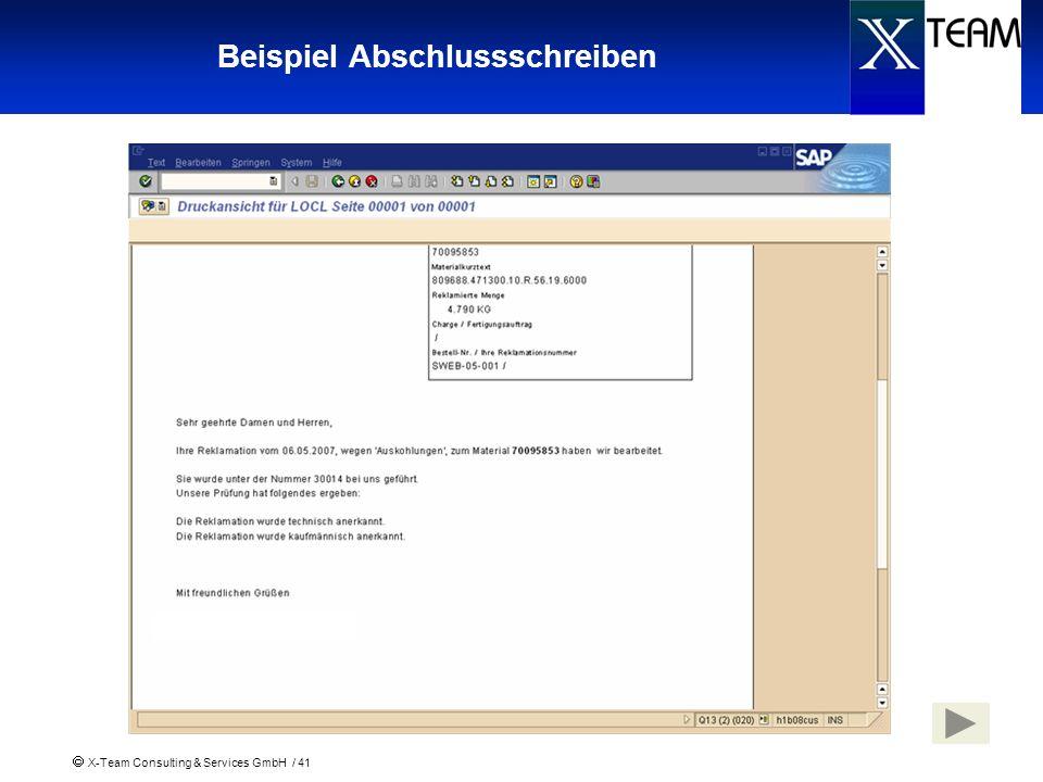 X-Team Consulting & Services GmbH / 41 Beispiel Abschlussschreiben