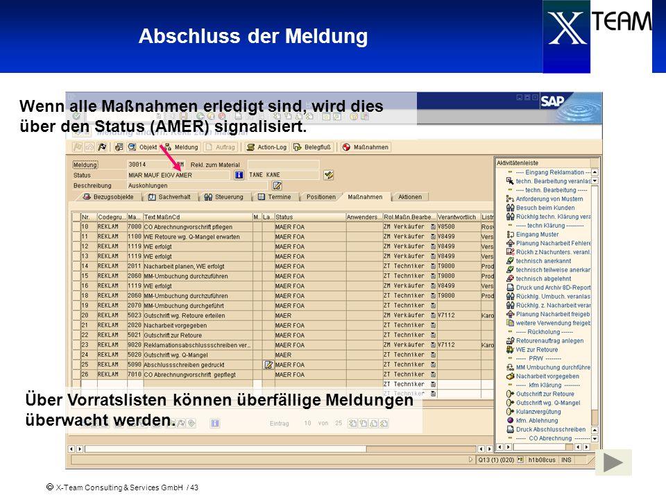 X-Team Consulting & Services GmbH / 43 Abschluss der Meldung Wenn alle Maßnahmen erledigt sind, wird dies über den Status (AMER) signalisiert. Über Vo