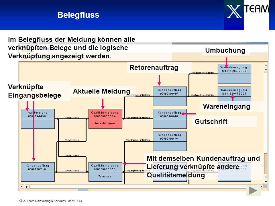 X-Team Consulting & Services GmbH / 44 Belegfluss Im Belegfluss der Meldung können alle verknüpften Belege und die logische Verknüpfung angezeigt werd