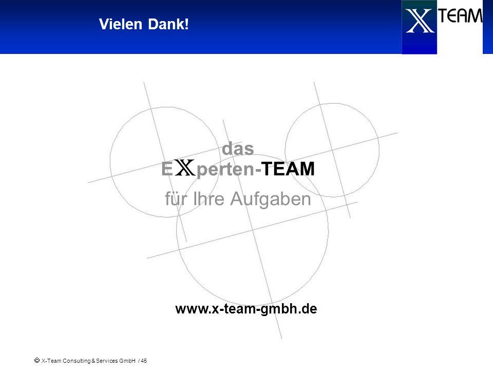 X-Team Consulting & Services GmbH / 45 Vielen Dank! das E x perten-TEAM für Ihre Aufgaben www.x-team-gmbh.de