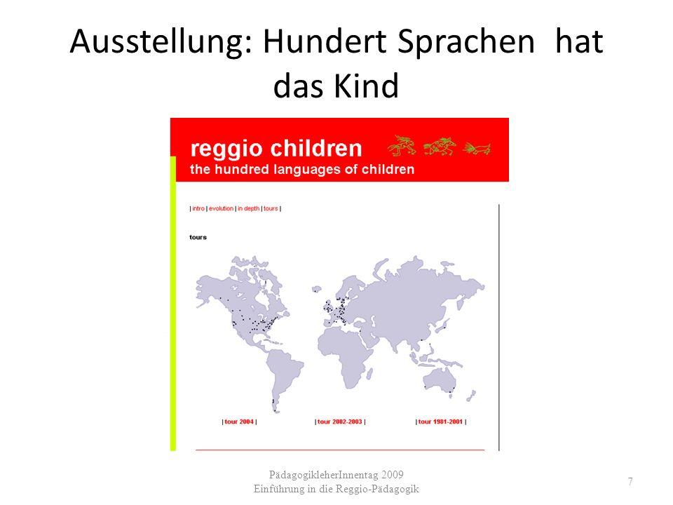 Ausstellung: Hundert Sprachen hat das Kind 7 PädagogikleherInnentag 2009 Einführung in die Reggio-Pädagogik