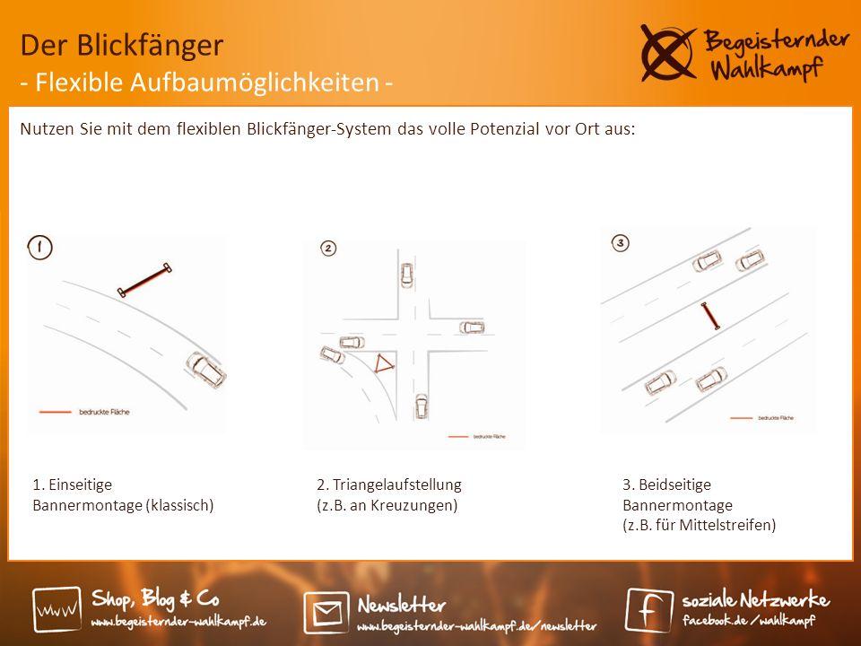 3. Beidseitige Bannermontage (z.B. für Mittelstreifen) Nutzen Sie mit dem flexiblen Blickfänger-System das volle Potenzial vor Ort aus: Der Blickfänge