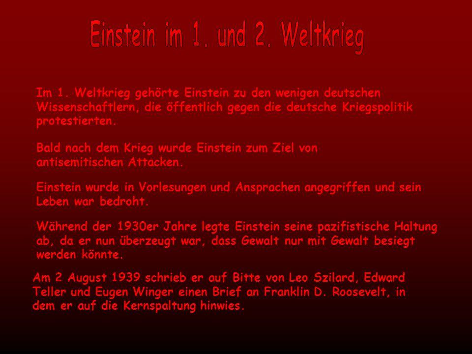 Im 1. Weltkrieg gehörte Einstein zu den wenigen deutschen Wissenschaftlern, die öffentlich gegen die deutsche Kriegspolitik protestierten. Bald nach d