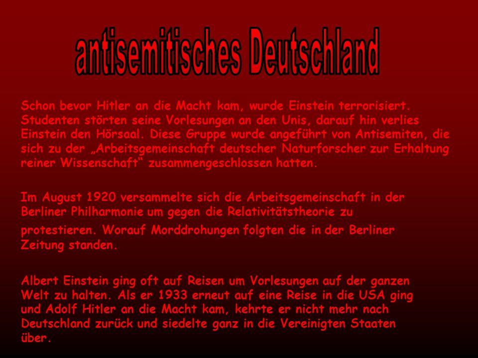 Mit diesem Bekenntnis reagierte Einstein auf die Machtergreifung Hitlers: Solange mir eine Möglichkeit offen steht, werde ich mich nur in einem Lande aufhalten, in dem politische Freiheit, Toleranz und Gleichheit aller Bürger vor dem Gesetz herrschen.