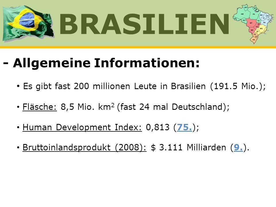 - Allgemeine Informationen: Es gibt fast 200 millionen Leute in Brasilien (191.5 Mio.); Fläsche: 8,5 Mio. km 2 (fast 24 mal Deutschland); Human Develo