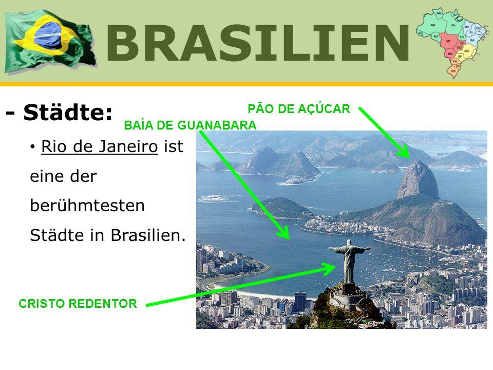 - Städte: Rio de Janeiro ist eine der berühmtesten Städte in Brasilien. BRASILIEN CRISTO REDENTOR PÃO DE AÇÚCAR BAÍA DE GUANABARA