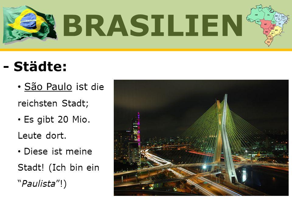 - Städte: São Paulo ist die reichsten Stadt; Es gibt 20 Mio. Leute dort. Diese ist meine Stadt! (Ich bin einPaulista!) BRASILIEN