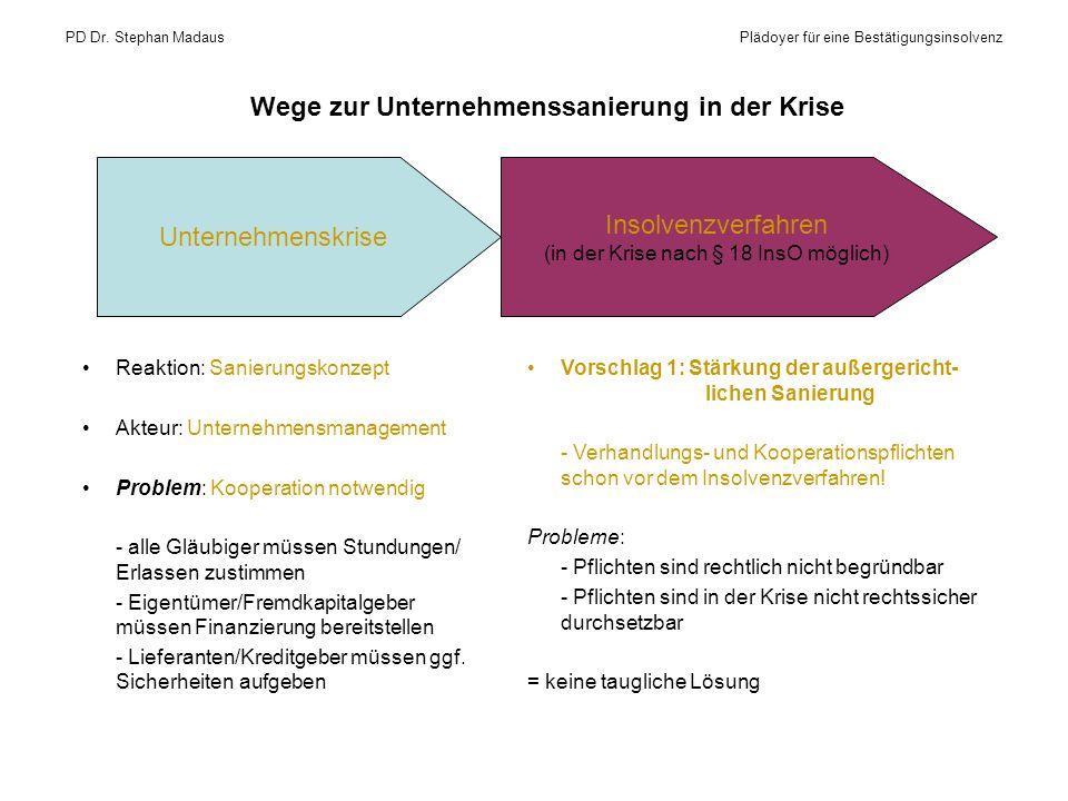 Wege zur Unternehmenssanierung in der Krise Reaktion: Sanierungskonzept Akteur: Unternehmensmanagement Problem: Kooperation notwendig - alle Gläubiger