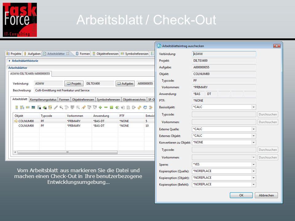 Arbeitsblatt / LPEX-Editor Nach dem Check-Out befindet sich die Source und auch der Erstellungsbefehl zu dem Objekt COLNUM00 in der primären Entwicklungs- umgebung.