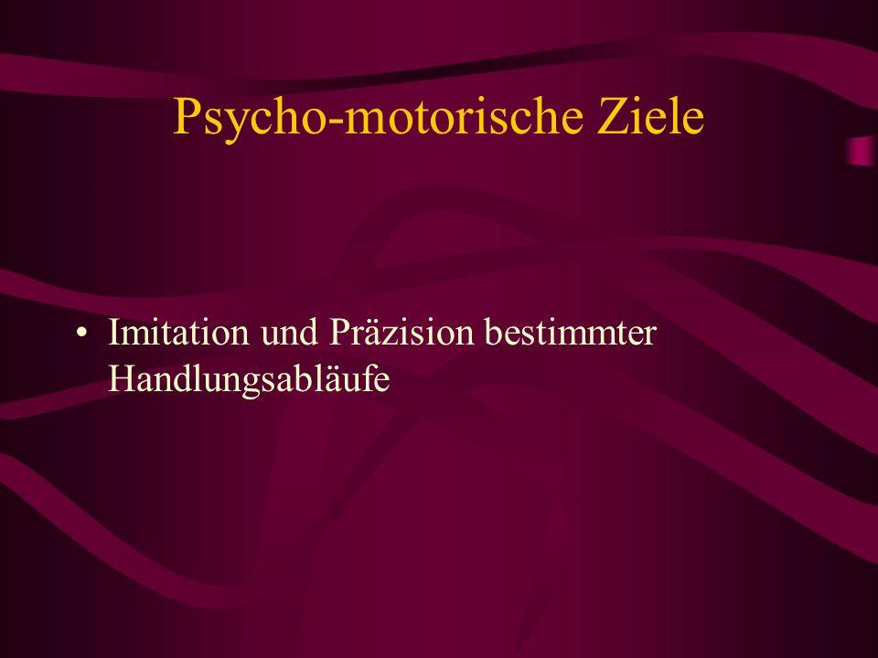 Psycho-motorische Ziele Imitation und Präzision bestimmter Handlungsabläufe