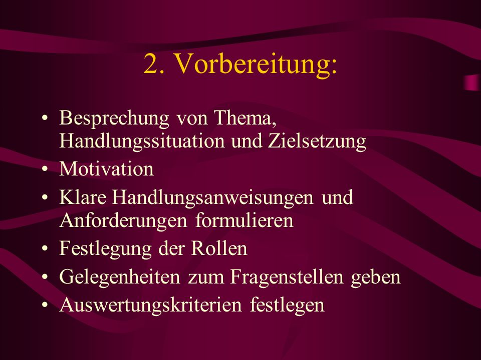 2. Vorbereitung: Besprechung von Thema, Handlungssituation und Zielsetzung Motivation Klare Handlungsanweisungen und Anforderungen formulieren Festleg