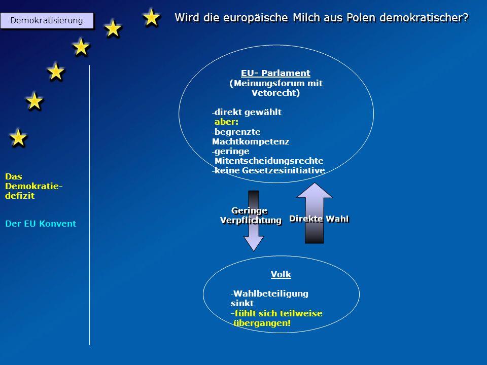 Wird die europäische Milch aus Polen demokratischer? Demokratisierung Das Demokratie- defizit Der EU Konvent Gesetzgeber (Ist dem EU-Parlament verpfli
