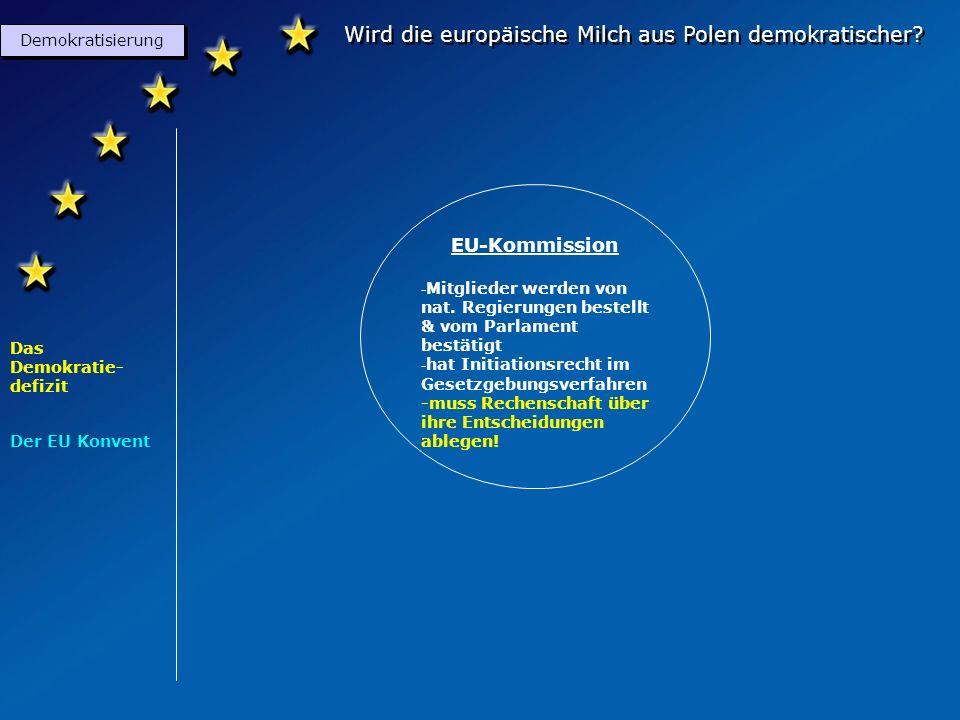 Wird die europäische Milch aus Polen demokratischer? Demokratisierung Das Demokratie- defizit Der EU Konvent EU- Parlament (Meinungsforum mit Vetorech