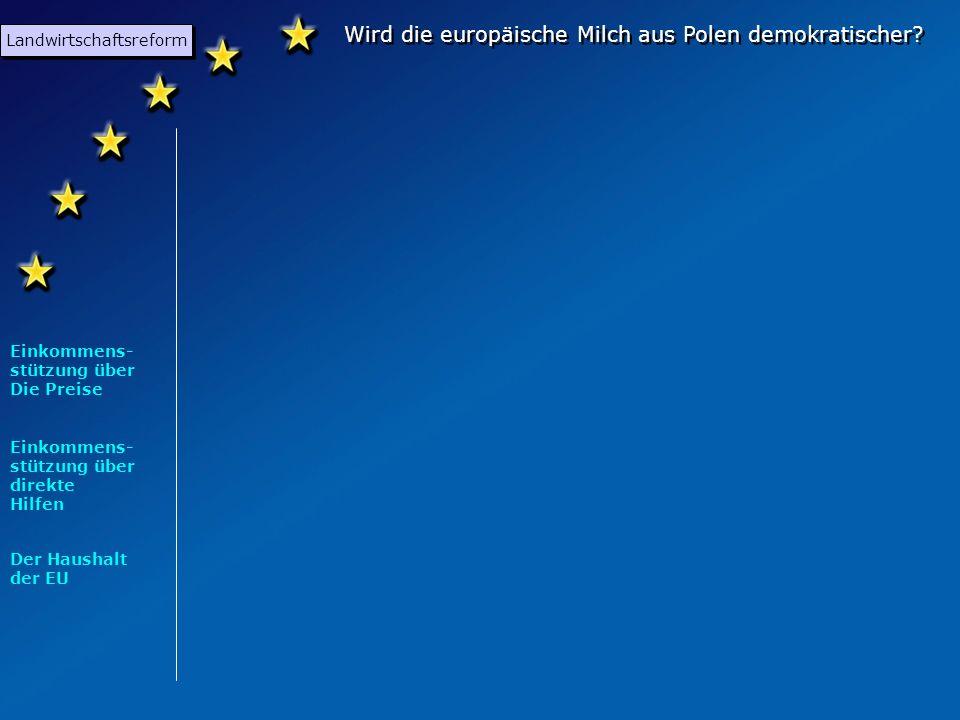 Wird die europäische Milch aus Polen demokratischer? Unterteilt in 3 Unterthemen: Landwirtschaftsreform Osterweiterung Demokratisierung