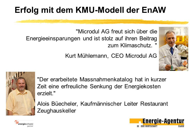 Erfolg mit dem KMU-Modell der EnAW Microdul AG freut sich über die Energieeinsparungen und ist stolz auf ihren Beitrag zum Klimaschutz.