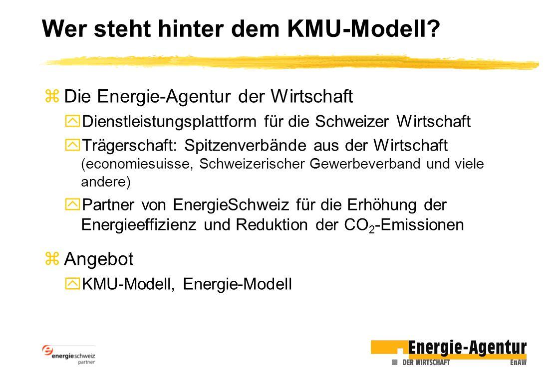 zDie Energie-Agentur der Wirtschaft yDienstleistungsplattform für die Schweizer Wirtschaft yTrägerschaft: Spitzenverbände aus der Wirtschaft (economiesuisse, Schweizerischer Gewerbeverband und viele andere) yPartner von EnergieSchweiz für die Erhöhung der Energieeffizienz und Reduktion der CO 2 -Emissionen zAngebot yKMU-Modell, Energie-Modell Wer steht hinter dem KMU-Modell?