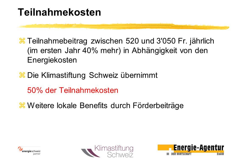 Teilnahmekosten zTeilnahmebeitrag zwischen 520 und 3'050 Fr. jährlich (im ersten Jahr 40% mehr) in Abhängigkeit von den Energiekosten zDie Klimastiftu