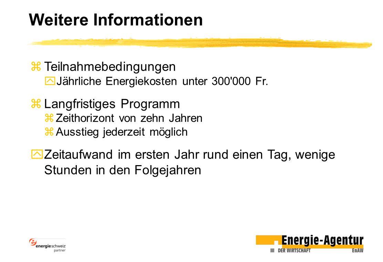 Weitere Informationen zTeilnahmebedingungen yJährliche Energiekosten unter 300'000 Fr. zLangfristiges Programm zZeithorizont von zehn Jahren zAusstieg