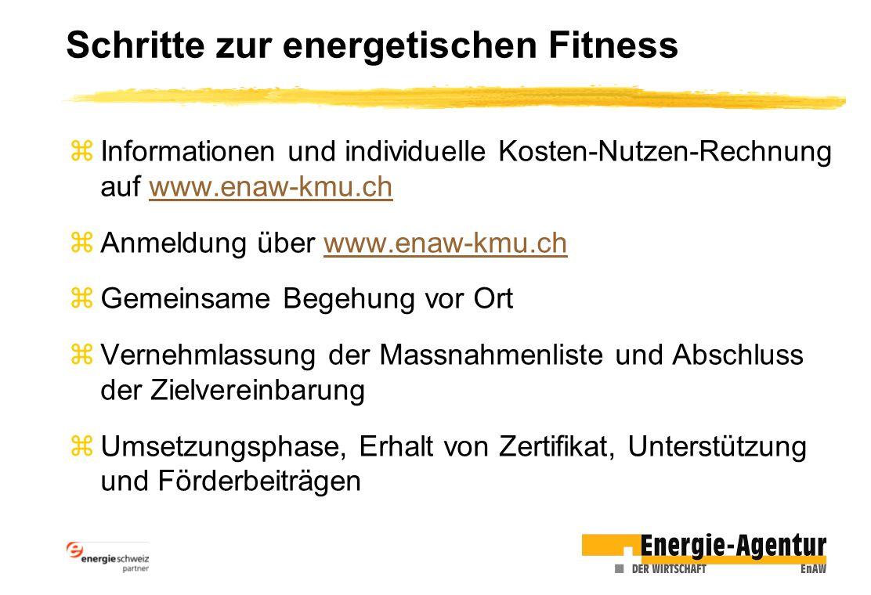Schritte zur energetischen Fitness zInformationen und individuelle Kosten-Nutzen-Rechnung auf www.enaw-kmu.chwww.enaw-kmu.ch zAnmeldung über www.enaw-