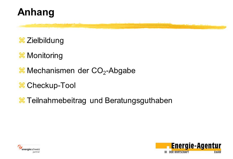 Anhang zZielbildung zMonitoring zMechanismen der CO 2 -Abgabe zCheckup-Tool zTeilnahmebeitrag und Beratungsguthaben
