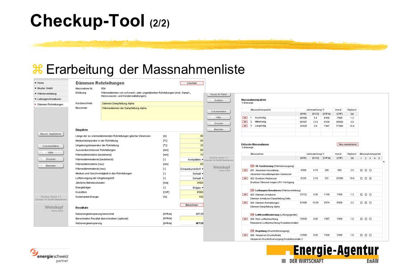 Checkup-Tool (2/2) zErarbeitung der Massnahmenliste
