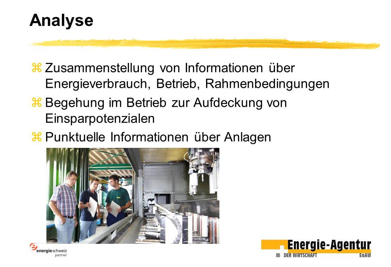 Analyse zZusammenstellung von Informationen über Energieverbrauch, Betrieb, Rahmenbedingungen zBegehung im Betrieb zur Aufdeckung von Einsparpotenzialen zPunktuelle Informationen über Anlagen