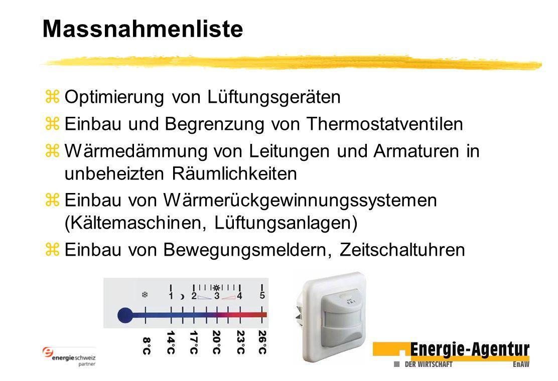 Massnahmenliste zOptimierung von Lüftungsgeräten zEinbau und Begrenzung von Thermostatventilen zWärmedämmung von Leitungen und Armaturen in unbeheizten Räumlichkeiten zEinbau von Wärmerückgewinnungssystemen (Kältemaschinen, Lüftungsanlagen) zEinbau von Bewegungsmeldern, Zeitschaltuhren