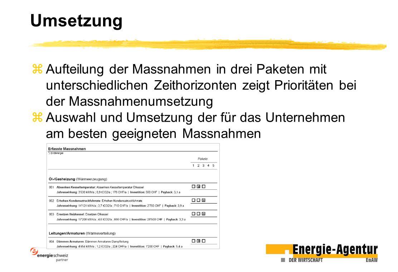 Umsetzung zAufteilung der Massnahmen in drei Paketen mit unterschiedlichen Zeithorizonten zeigt Prioritäten bei der Massnahmenumsetzung zAuswahl und U
