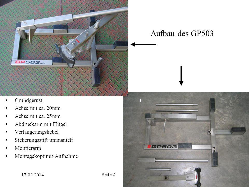17.02.2014 Seite 2 Aufbau des GP503 Grundgerüst Achse mit ca. 20mm Achse mit ca. 25mm Abdrückarm mit Flügel Verlängerungshebel Sicherungsstift ummante